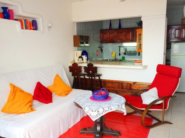 Living with the open-style kitchen - Lovely Seaview Apartment , Puerto del Carmen, Lanzarote